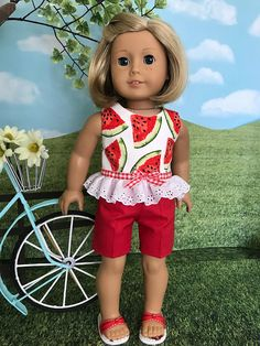 American made Spring or Summer doll shorts and top for American Girl Doll Bed, American Doll Clothes, Ag Doll Clothes, American Girls, Diy Clothes, Doll Dress Patterns, Clothing Patterns, Boy Doll, Girl Dolls