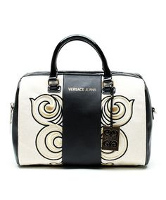 Look what I found on #zulily! White & Black Swirl Leather Satchel by Versace Jeans Collection #zulilyfinds