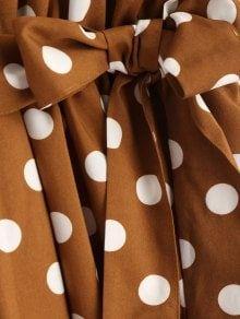 Half Buttoned Polka Dot Midi Dress