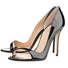 Amazon.com | EKS Women's Open Toe Side Hollow Patent Leather Stilettos Sandals Elegant Shoes 4 inch High Heels | Heeled Sandals