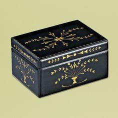 Venetian Gems Hermanas Large Mirror Jewelry Box in Black - VJB-01