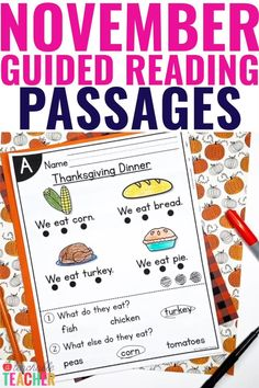 Are you looking for fun and engaging November reading activities? Look no further! These leveled November reading passages will make guided reading exciting for your kindergarten students. November reading passages are leveled A-E Reading Comprehension Passages, Comprehension Activities, Phonics Activities, Reading Activities, Third Grade Reading, Guided Reading, Teaching Reading, Fall Classroom Decorations, Teachers Pay Teachers Freebies