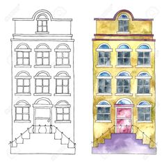 Watercolor Cartoon Buildings. Stock Photo, Picture And Royalty Free Image. Image 45856748.