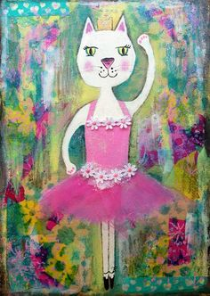 mixed media girl pink - Google Search