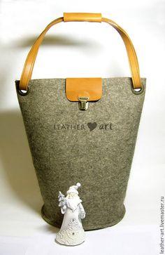 Купить Войлочная сумка-Ведро - серый, войлок, войлочная сумка, женская сумка, зимняя сумка