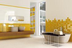 Indoor tile / for bathrooms / wall / ceramic GOTHA VIVA Ceramica Decor, Yellow Bathrooms, Yellow Interior, Indoor Tile, Bathroom Decor, Interior, Bathrooms Remodel, Home Decor, House Interior