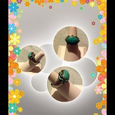 Turquoise and Sterling Silver .925 stamped ring Ring size is 7.5, genuine turquoise Jewelry Rings