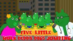 Five Little Peppa Pig Hulks (piggies) jumping on the bed | Hulk Finger F...