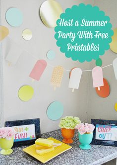 Host a summer party with free colorful printables including a digital invitation. Serve Hot Pockets and Outshine Fruit Bars as snacks and enjoy! #shop #cbias #summergoodies
