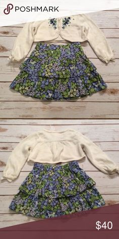 Janie and Jack Girls Top and Skirt 18-24 Months Janie and Jack Enchanted Garden Girls Sweater Shrug Top and Ruffled Skirt, Size 18-24 months. New Condition. Sweater top is 87% Cotton and 3% Cashmere with beautiful embroidered flowers and bows on the ends of sleeves. Machine Wash Cold. Ruffled Skirt is 100% Cotton. Machine Wash Cold.  NO TRADES Janie and Jack Matching Sets