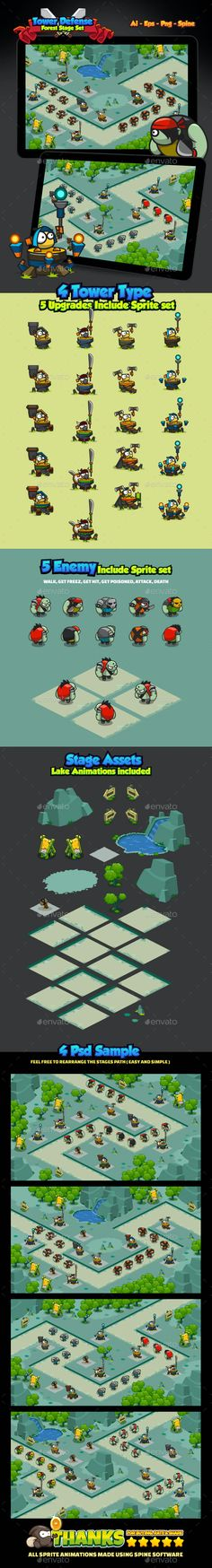 Tower Defense Forest Pack by Fikri | GraphicRiver Free Game Assets, Kit Games, Ios, Defense Games, Android, Tower Defense, Game Background, Animation, Iphone