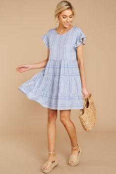 27c7176cc Adorable Blue Print Sun Dress - Short Flowy Print Dress - Dress - $44 – Red