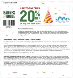 Barnes and Noble Printable Coupon: 20% off 1 Teen Book for Kids' Club Members (Printable)