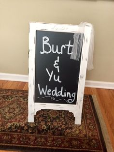 Rental-Two Sided Stand Up Easel- Whitewashed Chalkboard- Great for directional to your ceremony or for parking directions!
