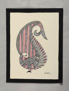 Madhubani Paintings Peacock, Kalamkari Painting, Madhubani Art, Doodle Art Drawing, Mandala Drawing, Cool Art Drawings, Peacock Drawing, Peacock Tattoo, Worli Painting