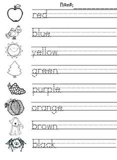 Practice color words - trace, write, color. K (NOTE: save as a PDF first; when I printed straight from Google, it came out weird. I've used CutePDF for years, it's free to download.)