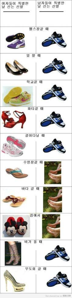남자와 여자 신발 차이