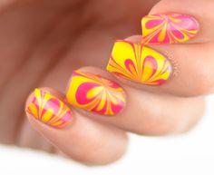ZigiZtyle: Watermarble nails, OPI Color Paints Primarily Yellow, Pen & Pink Color Paints, Paint Colors, Neon Yellow Nails, Opi Colors, Nail Art, Water, Pink, Painting, Paint Colours
