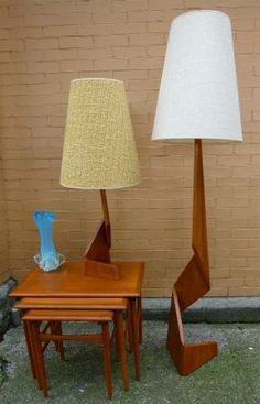 Fab Danish Mod ARCHITECTURAL solid TEAK zigzag FLOOR & TABLE LAMPS