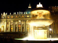 Watykan- Fontanna na Placu przed Bazyliką Św. Piotra
