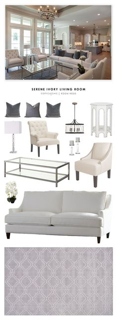 cool Déco Salon - Copy Cat Chic Room Redo | Serene Ivory Living Room (| Copy Cat Chic | chic for cheap)