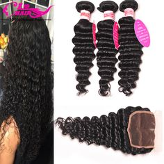 Brazilian Virgin Hair With Closure Deep Wave With Closure 3 Bundles With Closure Hair Bundles With Lace Closures Hair Weave