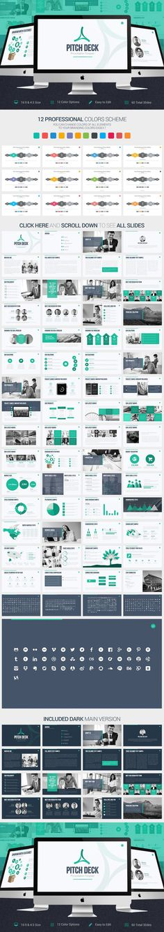 Pitch Deck PowerPoint Template. Business Infographic. $20.00