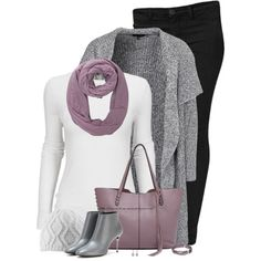 Purple Scarf & Bag by stay-at-home-mom on Polyvore featuring New Look, Calvin Klein, Balenciaga, Rebecca Minkoff, Majorica and Salomon