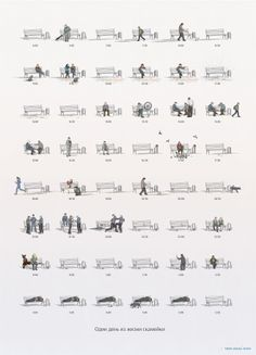 Charming illustration charts the life of a bench is part of architecture - Showing how even the most mundane item can be transformed with a dash of creativity, this gorgeous illustrated chart showcases the day in the life of a park bench Landscape Diagram, Urban Landscape, Landscape Design, Architecture Drawings, Landscape Architecture, Site Analysis Architecture, Business Architecture, Architecture Diagrams, Japanese Architecture