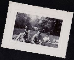 Antique Photograph Sexy Shirtless Men Sitting on Ground Picnic - Gay Interest