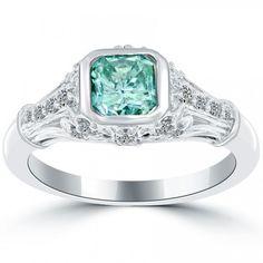 1.52 Carat Fancy Blue Radiant Cut Diamond Engagement Ring 14k Gold Vintage Style - Blue Diamond Rings - Color Rings