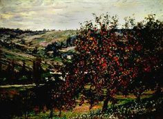 Pommiers près de Vétheuil (Apple Trees near Vétheuil) 1878 19th Century 24 1/2 in. x 32 5/8 in. (62.23 cm x 82.87 cm)   Claude Monet (aka Claude Oscar Monet) (Paris, 1840 - 1926, Giverny) Primary   Object Type: 		Painting Medium and Support: 		oil on canvas Credit Line: 		On loan from the estate of Jackson T. Stephens Accession Number: 		XL.2000.001.002