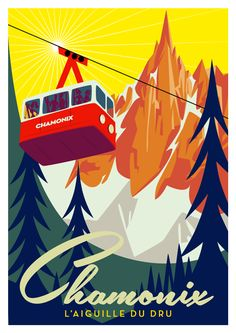 Chamonix travel poster by Richard Zielenkiewicz Ski Vintage, Vintage Ski Posters, Photo Vintage, Look Vintage, Illustrations Vintage, Illustrations And Posters, Old Posters, Plakat Design, Tourism Poster