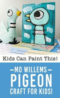 Mo Willem's Pigeon Craft for Kids - Easy and Fun Craft Idea for Kids Pigeon Craft, Piggie And Elephant, Storybook Crafts, Pigeon Books, Fun Crafts, Crafts For Kids, Kindergarten Art Projects, Mo Willems, Author Studies