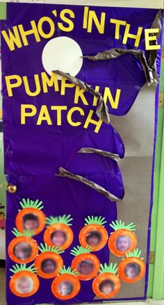 Halloween door preschool pumpkin patch. Image only would not only look great on the door but as a bulletin board.