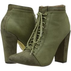 Michael Antonio Juliane Boot Women's Lace-up Boots, Olive (140 BRL) ❤ liked on Polyvore featuring shoes, boots, ankle booties, heels, olive, high heel ankle boots, chunky heel booties, lace up booties, high heel boots and faux suede lace-up booties