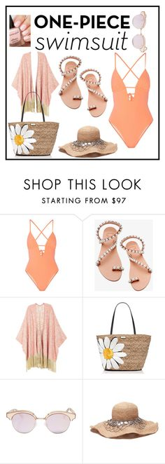 """cool swimsuit"" by julietarequena on Polyvore featuring Tart, Elina Linardaki, Melissa McCarthy Seven7, Kate Spade, Le Specs, onepieceswimsuit and plus size clothing"