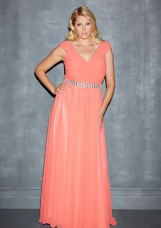 2015 V-neck Sweep Train Blue Crystals Zipper Coral Chiffon V-back Sleeveless Ruched A-line Plus Size Dresses 7129