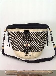 Sisal Rope Purse Black Natural Checkers Beads Artisan Bohemian Handmade | eBay
