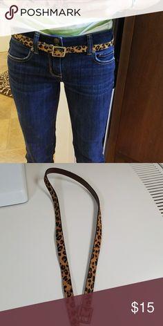Leopard/cheetah print skinny belt small Target genuine leather calf hair belt target Accessories Belts