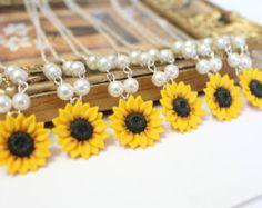 Set of 6 Sunflower Necklace Sunflower Jewelry Yellow Spring Wedding, Our Wedding, Wedding Gifts, Dream Wedding, Wedding Ideas, Rustic Wedding, Wedding Stuff, Wedding Things, Wedding Cake