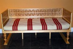 Reconstruction of a Roman bed in the Domus Pompeiana exhibition