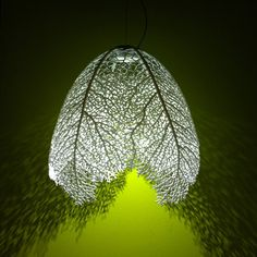 Arboreal Pendant Lamp by Nervous System.  3d-printed nylon and LED lights, one of a kind, computer generated form