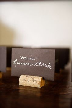 Cork place cards - love it! if only we had a cork or two lying around. Chic Wedding, Wedding Table, Our Wedding, Wedding Ideas, Trendy Wedding, Wedding Seating, Bodas Shabby Chic, Cork Place Cards, Eco Deco