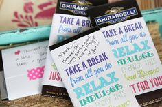 Use these Printable Chocolate Bar Labels to thank someone in your office!