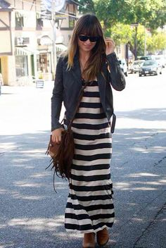 Striped maxi and jean jacket