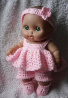 "Crochet pattern for Lil Cutesies Berenguer 8.5"" doll - dress, shorts, hairband and booties"