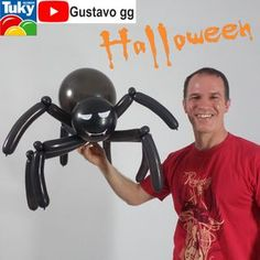 halloween decorations DIY - How to make a Balloon Spider Halloween Balloons, Adornos Halloween, Diy Halloween Decorations, 4th Birthday Parties, Baby Shower, Halloween Makeup, How To Make, Balloon Ideas, Characters