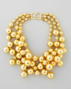 Golden Beaded Cluster Necklace by Kenneth Jay Lane at Neiman Marcus.