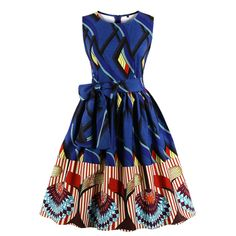 Wellwits Women's Waist Tie Stripes Ethnic African Print Vintage Swing Dress, african print dress for women. African Dresses For Women, African Print Dresses, African Attire, African Fashion Dresses, African Dresses Plus Size, Fashion Outfits, Fashion 2018, Fashion Styles, Dress Fashion